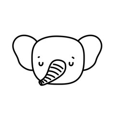 Cute elephant head animal wildlife cartoon line vector