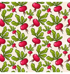 cute seamless hand drawn radish background vector image