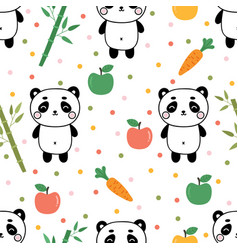 cute summer seamless pattern with little panda vector image