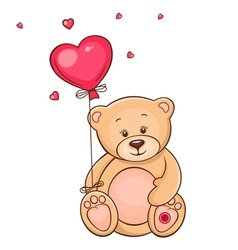 Cute teddy bear with red balloon vector image