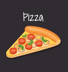 Delicious italian pizza fast food vector