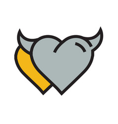 devil heart icon twins yellow vector image