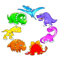 Dinosaurs rainbow vector image