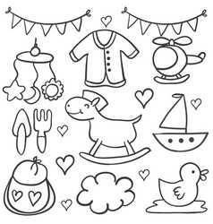 doodle of baby element collection stock vector image