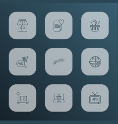 ecommerce icons line style set with wish list vector image