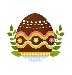 Egg easter with branches plant decorative vector