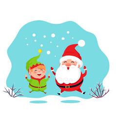 elf helper and santa claus jumping card vector image