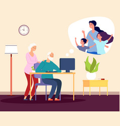 family video call online communication with vector image
