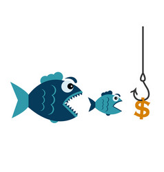 fishing with a dollar hook and fish vector image