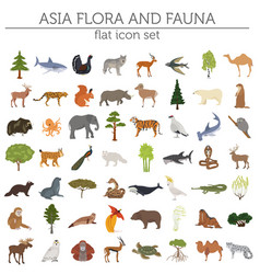 flat asian flora and fauna map constructor vector image vector image