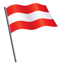 Flying austrian flag austria silk on flagpole vector