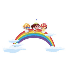 Fungus elfs and fairy with rainbow vector