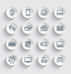 Gadgets modern devices line icons set vector