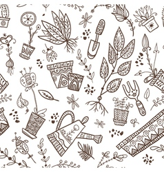 gardening and planting seamless pattern vector image