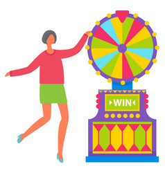 girl in green skirt spinning roulette wheel vector image