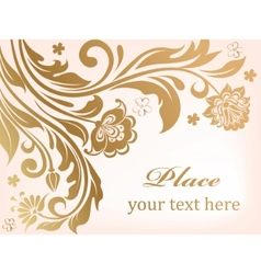 gold floral background with decorative flowers vector image