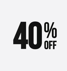 Golden 40 percent off flat cartoon style vector