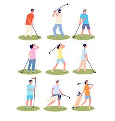 golf playing cartoon fun golfing players sport vector image