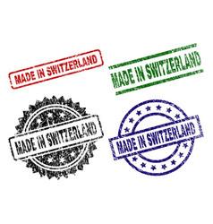 Grunge textured made in switzerland seal stamps vector