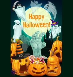 Halloween pumpkins ghosts zombie hand candy vector