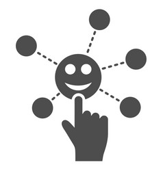 Hand click smile network flat icon vector