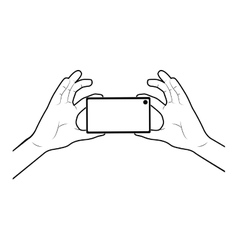 Hand holding smartphone design vector image
