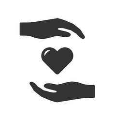 hand icon surround the heart from above and vector image