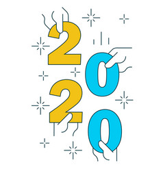 hands holding figures 2020 on white background vector image