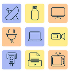 Hardware icons set with photocopy screen video vector