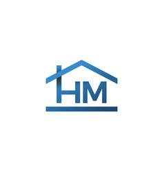 hm house home roof letter mark logo lettermark vector image