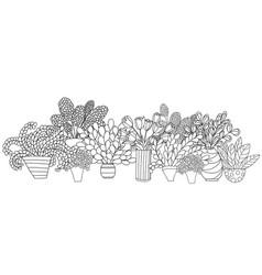 horizontal composition with contour cartoon vector image