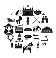 Horse icons set simple style vector