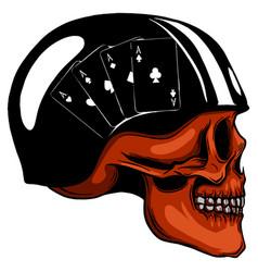Human skull with a helmet vector