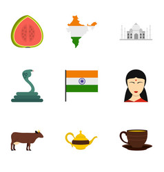 India icon set flat style vector