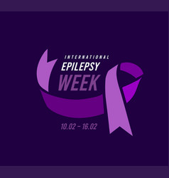 international epilepsy week with purple ribbon vector image