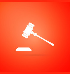 Judge gavel icon isolated on red background vector