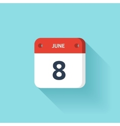 June 8 Isometric Calendar Icon With Shadow vector