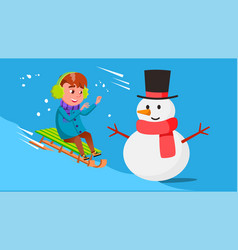 kid boy rolling downhill on a sled and crashes vector image