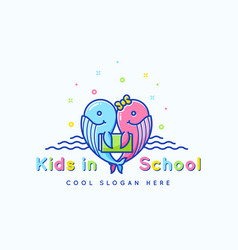 Kids school abstract sign emblem or logo vector