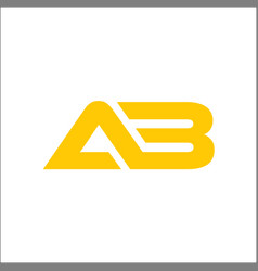 Letter ab company linked logo yellow color vector