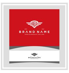 Letter e shield wing logo design concept vector