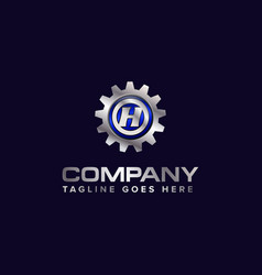 Letter h gear template logo this design vector