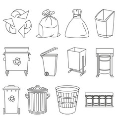Line art black and white trash element collection vector