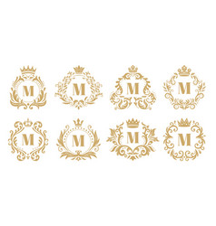 luxury monogram vintage crown logo golden vector image