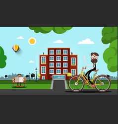 Man on bicycle with building on background city vector