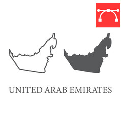 Map united arab emirates line and glyph icon vector