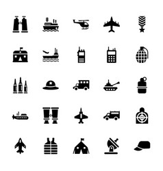 Military equipments icons pack vector