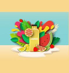 Multifruit juice drink bottle fresh fruits vector