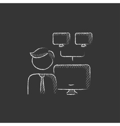 Network administrator drawn in chalk icon vector