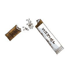 open sugar sachet on white background vector image